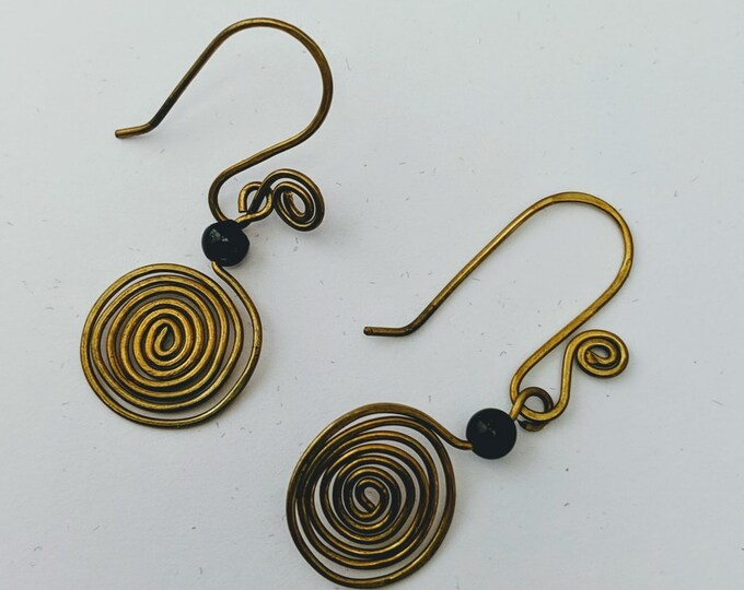 Small Sacred Spiral Earrings - Obsidian Bead - Celtic - Egyptian - Byzantine