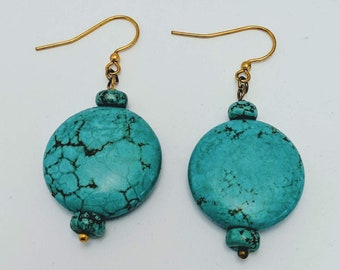 Turquoise Coin Earrings - Mayan Aztec - Native American Skystone