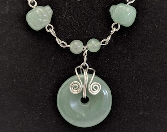 Pig Beads Aventurine Donut Spiral Necklace - Healing & Love - 4th Chakra