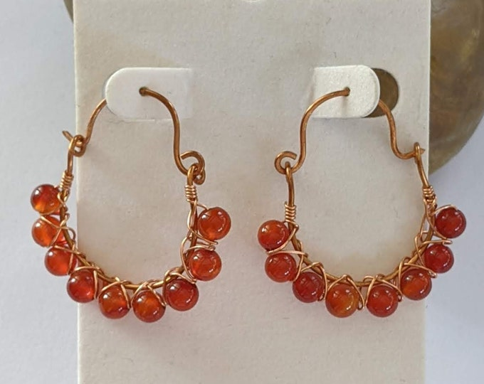 Carnelian Hoops w Copper  - Renaissance Earrings - Elizabethan - Italian