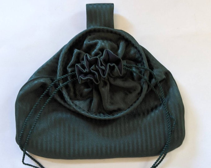 In Stock! Green Stripe Stain Damask Drawstring Belt Pouch - Game Bag Renaissance