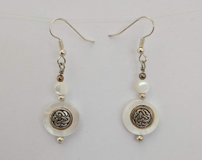 Mother of Pearl Celtic Knotwork Earrings