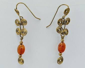 Sacred Spiral Earrings with Carnelian