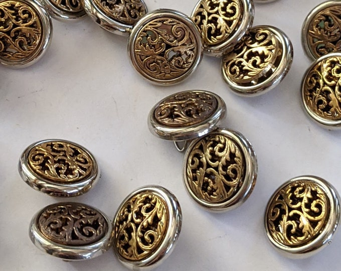 Silver and Gold Plastic Floral Filagree Buttons