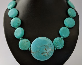Turquoise Coin Necklace - Skystone Mayan Aztec - Native American