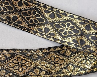 Metallic Gold Black Trim -  Home Decor - Crafts - Clothing