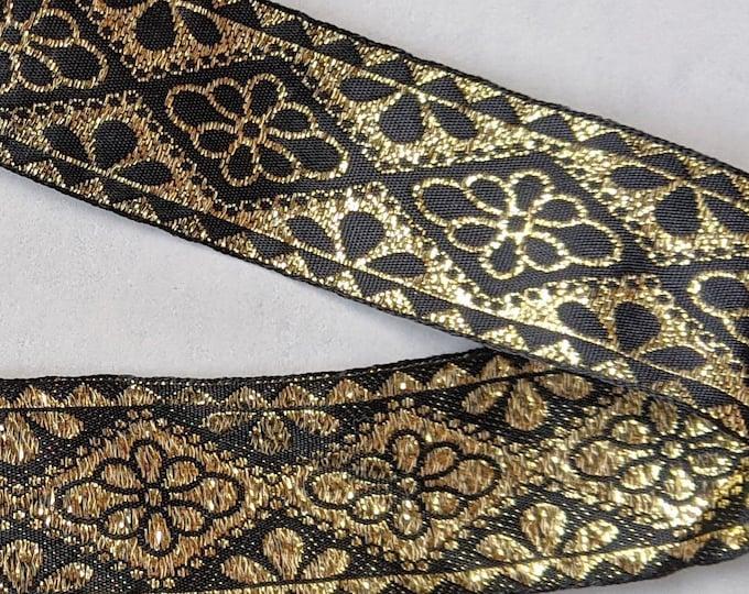 Metallic Gold Black Trim -  Home Decor - Crafts - Clothing