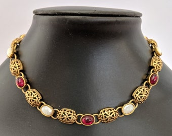 Mother of Pearl Garnet Necklace - Elizabethan Renaissance - Victorian