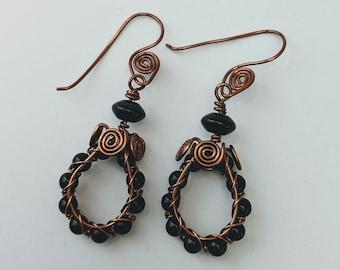 Obsidian Spiral Wire Hoop Earrings - Aztec Egyptian Native American