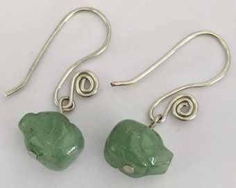 Aventurine Pig Bead Spiral Earrings #1 - Healing & Love - 4th Chakra