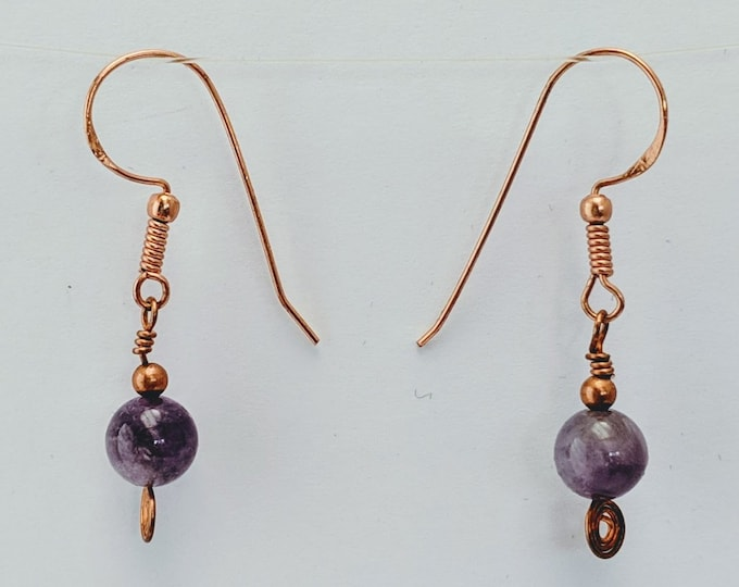 Amethyst Sacred Spiral Earrings - Celtic - Egyptian - Byzantine