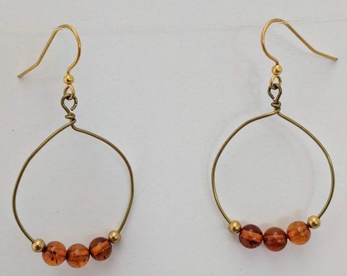 Baltic Amber Beads on Handmade Bronze Hoops #2