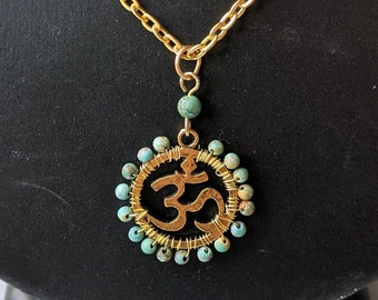 Turquoise Om Necklace - Ohm - Aum - Positive Universal Energy