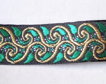 """1"""" Green and Gold Metallic Trim -  Home Decor - Crafts - Ren Faire Clothing"""