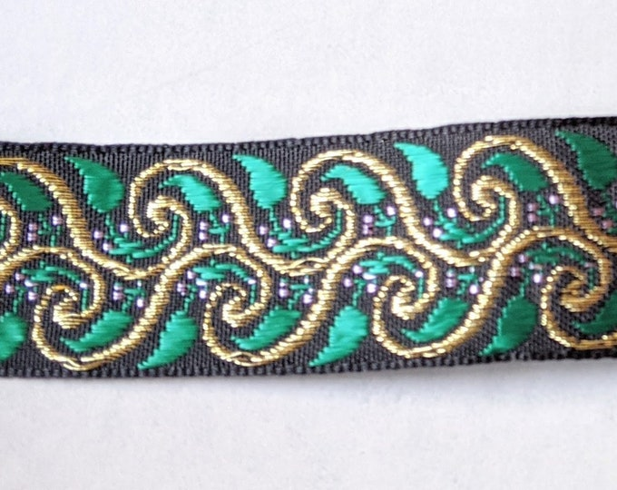 "1"" Green and Gold Metallic Trim -  Home Decor - Crafts - Ren Faire Clothing"