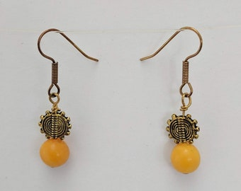 Butterscotch Amber with Sun Symbol Dangle Earrings - Healing Sunshine