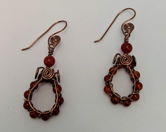 Carnelian Spiral Wire Hoop Earrings - Aztec Egyptian Native American