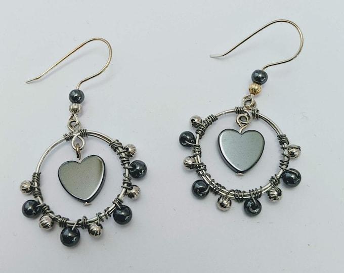 Hematite Wire Wrapped Hoop Earrings - Valentine Heart