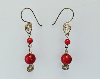 Coral Sacred Spiral Goddess Earrings - Celtic - Egyptian - Byzantine