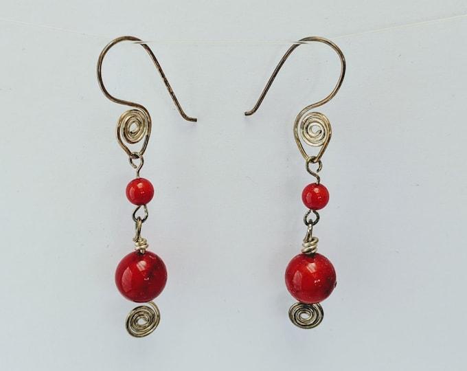 Coral Sacred Spiral Goddess Earrings - Celtic - Egyptian - Byzantine