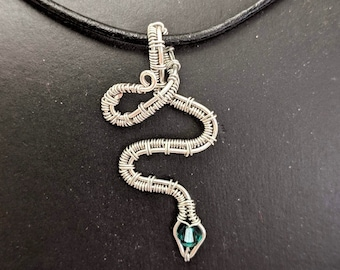 Snake Pendant - Birthday Serpent with Crystal - St. Patrick's Day