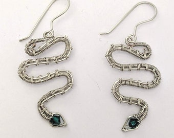 Snake Earrings - Birthday Serpent with Crystal - St. Patrick's Day
