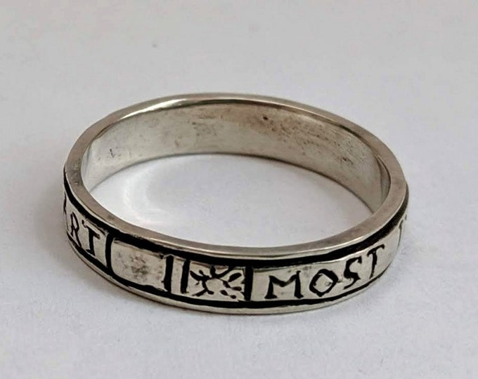 Most in My Mind Sterling Silver Love Poesy Ring - Period French