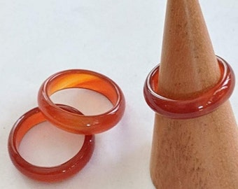 Sexy Carved Carnelian Band - Creative Gemstone Ring - 2nd Chakra