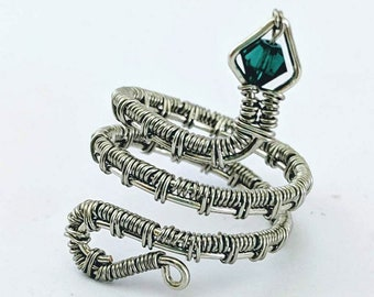 Pagan Snake Ring - Wire wrap Serpent with Crystal - St. Patrick's Day