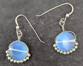 Moonstone Coin Earrings w/ Metal Beads - Wire Wrap June July Birthdays