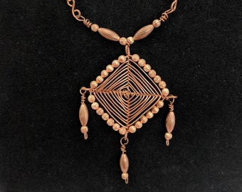 Copper Eye of God Wire Pendant & Handmade Chain - Native American