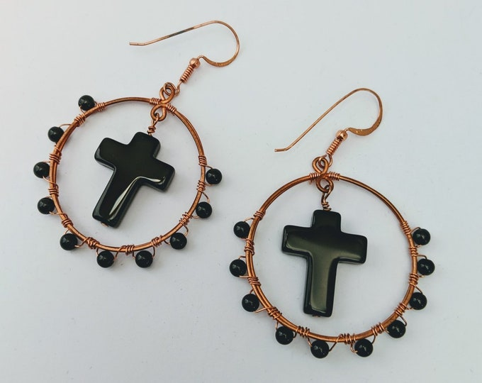 Dragon Glass Obsidian Cross Hoops