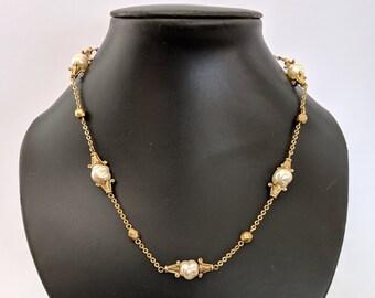 Glass Freshwater Pearl Necklace - Antiquities Elizabethan Renaissance