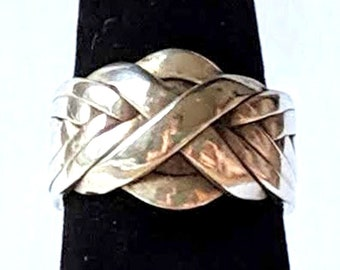 Eight Band Puzzle Ring - Sterling Silver Gimmel Ring with Solution