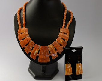 Mayan Aztec Native American Set - Spiny Oyster Necklace & Earrings