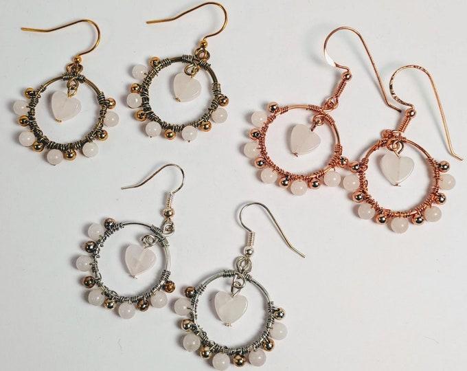 Rose Quartz Wire Wrapped Hoop Earrings - Heart Chakra