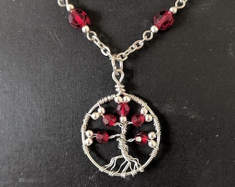 July Ruby Red Crystal Birthday - Tree of Life Pendant Necklace