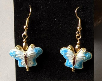 Good Luck Enameled Butterfly Earrings - Multiple Colors