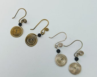 Sacred Spiral Earrings - Obsidian Bead - Celtic - Egyptian - Byzantine