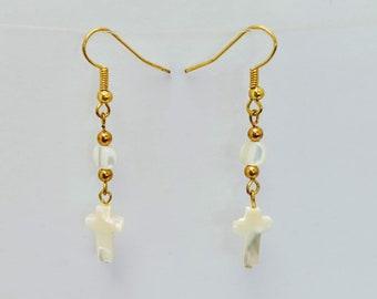 Mother of Pearl Cross Earrings - Renaissance - Elizabethan - Italian