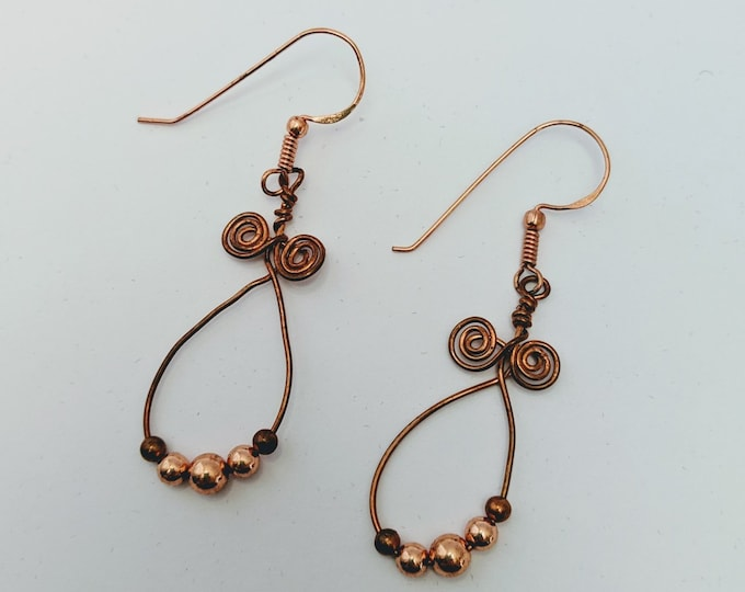 Copper Wire Wrapped Spiral Loops - Lucky Earrings