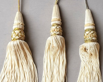 Large Cream or Green Tassel - Pearls - Gold - Sword Tassel - Home Decor