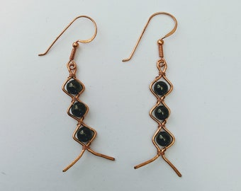 Aztec Egyptian Native American Obsidian Dragon Glass ZigZag Earrings
