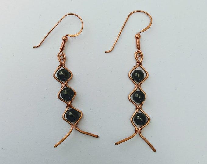 Aztec Egyptian Native American Obsidian Dragon Glass ZigZag Earrings