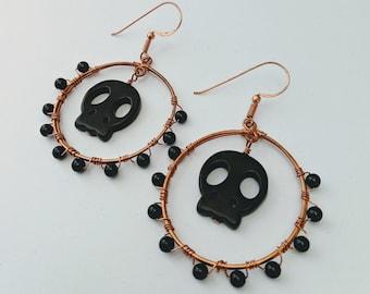 Happy Halloween! Aztec Native American Memento Mori Obsidian Skull Hoops