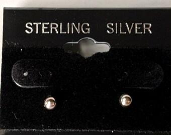 Vintage Sterling Silver 4mm Ball Post Earrings - SS Ear Studs