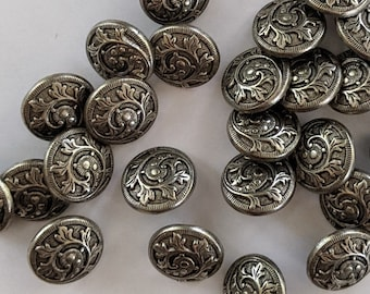 Leafy Scroll  - Metal Shank Buttons -  Renaissance