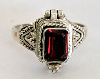 Emerald-cut Garnet Poison Ring - Renaissance - Victorian Steampunk