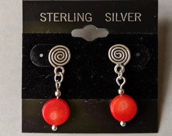 Sterling Silver Vintage Ear Studs - Sacred Spiral - Red Bamboo Coral