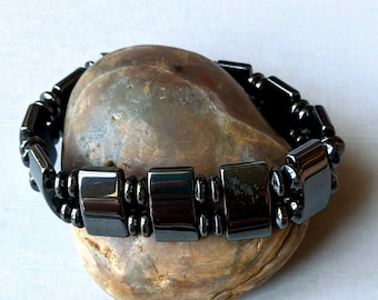 Multi Hematite Bead Magnetic Stretch Bracelet - 2-Hole Rectangle Beads & Roundel Beads
